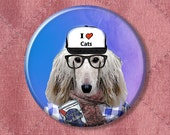 """Dog Button Sal the Hipster Dog - Pinback Button Badge -  2.25"""" Two Inches"""