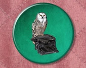 """Owl Pin 'The Writer's Muse' Owl on a Typewriter - Pinback Button Badge -  2.25"""" Two Inches"""