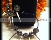 Onyx Hoop Earrings with Silver Spikes & Gunmetal Crystallized balls