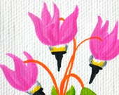 Flower art original miniature painting shooting star wildflower purple pink