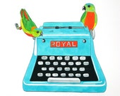 Vintage Typewriter and Parrots large print - aqua typewriter teal turquoise