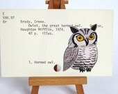 Print of Owlet painted on Library Card - Owlet the Great Horned Owl