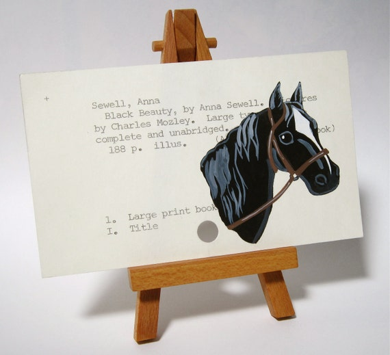 Black Beauty Painted on Library Card - Black Beauty by Anna Sewell