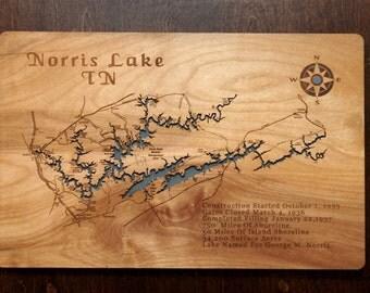 Lake Norris Tennessee wooden laser engraved lake map wall hanging