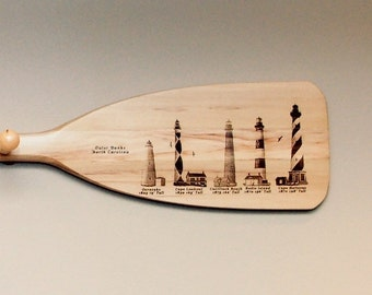 Boat Paddle Coat Rack with engraved Lighthouses of The Outer Banks