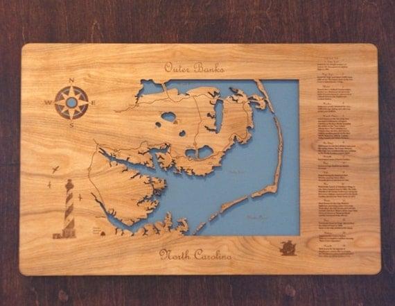 Outer Banks North Carolina wooden laser engraved coastal map wall hanging