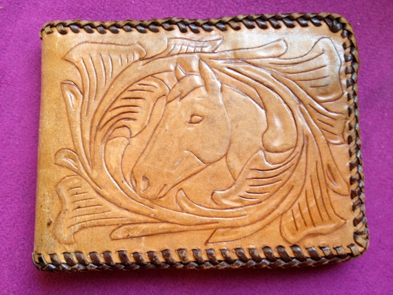 VINTAGE Hand-Tooled Leather HORSE WALLET
