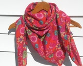Square cotton floral scarf - orange