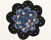Fabric flower brooch pin - multicolor flowers on blue and black white polka dots