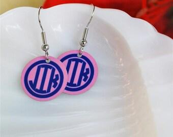 enameled monogram earrings, custom colors