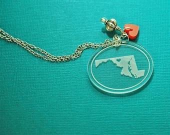 Engraved Maryland acrylic necklace