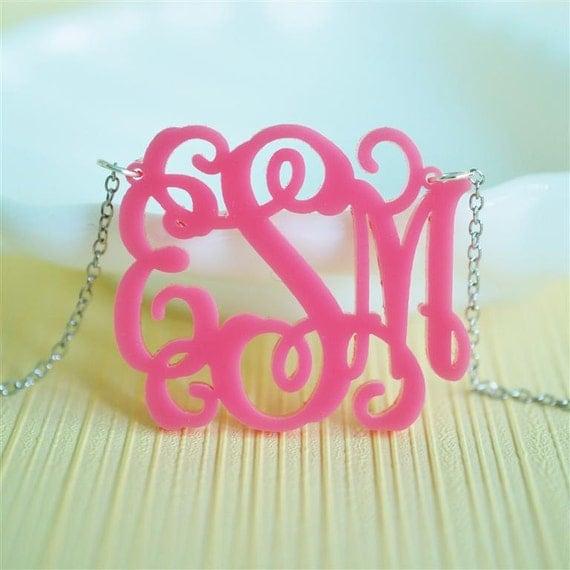 Vine monogram acrylic necklace