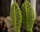earrings- long leaf in green