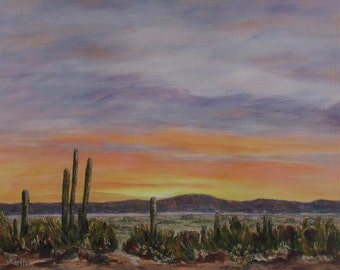 Cactus in the Desert Sunrise