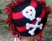 Mohawk Hat Skull and Crossbones