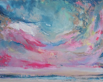 "Archival Print of original oil painting ""Abstract Skyscape in Pink and Blue"""