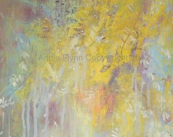 "Modern Art Print-- Archival Print of Original Oil Painting-- ""Forsythia Rearranged"""