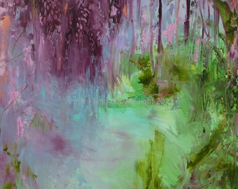 "Modern Art Print-- Archival Print of Original Painting-- ""Wisteria Concerto in Lilac and Lime''"