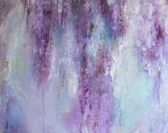 "Modern Art Print-- Archival Print of Original Painting-- ""Ascending Wisteria in Deep Violet"""