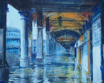 "Archival Print of Original Mixed Media ""Venice in Blue. L' Acqua Alta"""