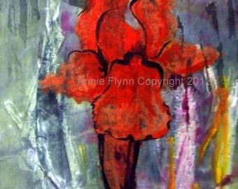 "Archival Print of Original Mixed Media ""Red Iris Monoprint"""