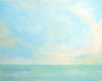 """Archival Print of Original Oil Painting """"Seascape in Turquoise and Aqua"""""""