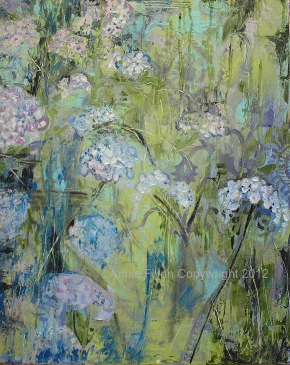 Blue Hydrangeas in the Quiet Garden with Damask
