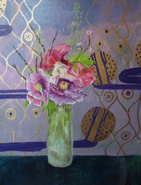 Peonies in a Vase on Lavender with Gold