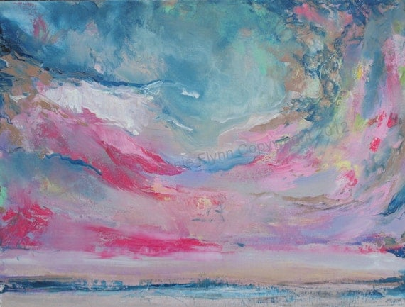Abstract Skyscape in Pink and Blue