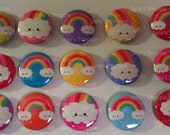 "Kawaii Bright Rainbow Friends ""FLAT"" Back Buttons  ASSORTED Set of 15 (1inch / 25mm)"