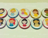 Little Cute Princesses. Your Choice: Flat Backs/ Pin Backs / Hollow Back Buttons Medallions Set of 10. US 1st Class Shipping Included