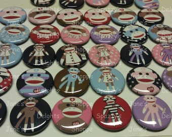"""Medical Kawaii Sock Monkey Flatback / Pinback / Hollowback (1inch 25mm / 1.25"""" 31mm) Set of 15 Buttons Party Favors / DIY Projects"""