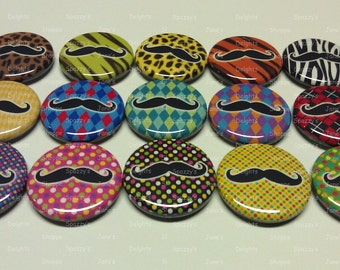 """Mustache Fun and Playful Flatback / Pinback / Hollowback Buttons Medallions Set of 15 (1"""" / 25mm OR 1.25"""" /31mm) Party Favors / DIY Projects"""