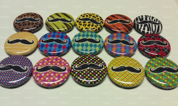 Mustache Fun and Playful Pinback / Flatback / Hollowback Buttons Medallions ASSORTED Set of 15 (1inch / 25mm) Party Favors / DIY Projects