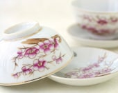 Vintage Rice Bowls Asian Plum Blossom Porcelain