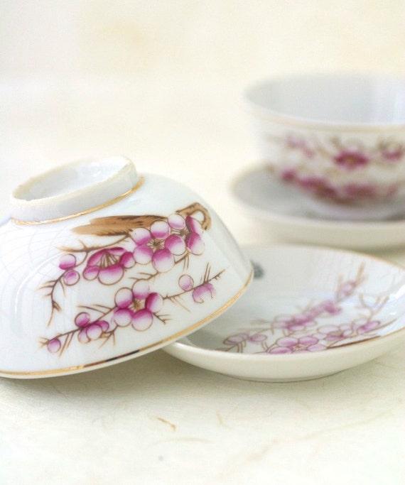 Vintage Rice Bowls Asian Plum Blossom Porcelain