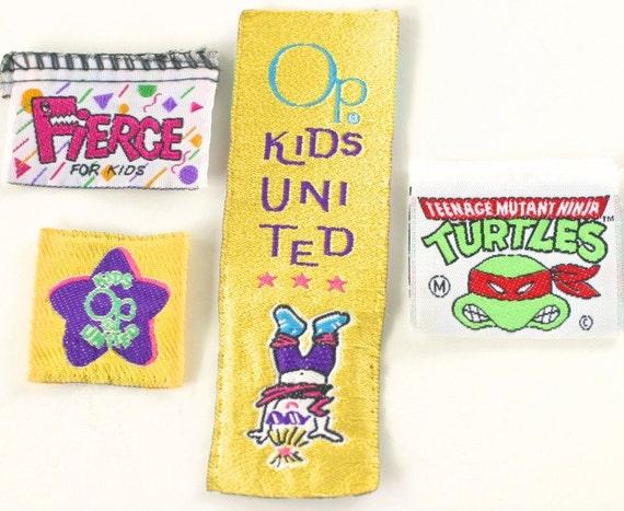 Vintage Garment Labels Children's Clothing Ninja Turtles, Ocean Pacific OP, Fierce, Set of Four