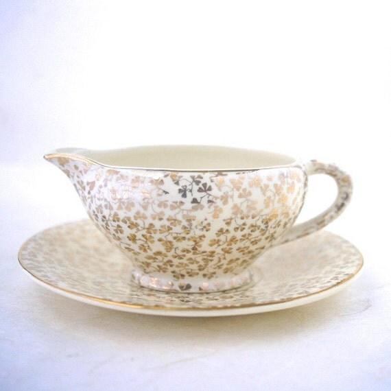Empire Shelton Ivory Vintage Porcelain Creamer and Plate Clover