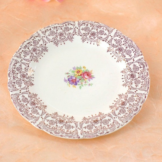 French Saxon China Burgundy Lace Vintage Dessert Plate