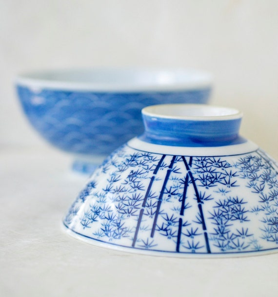 Vintage Blue and White Japanese Porcelain Rice Bowls