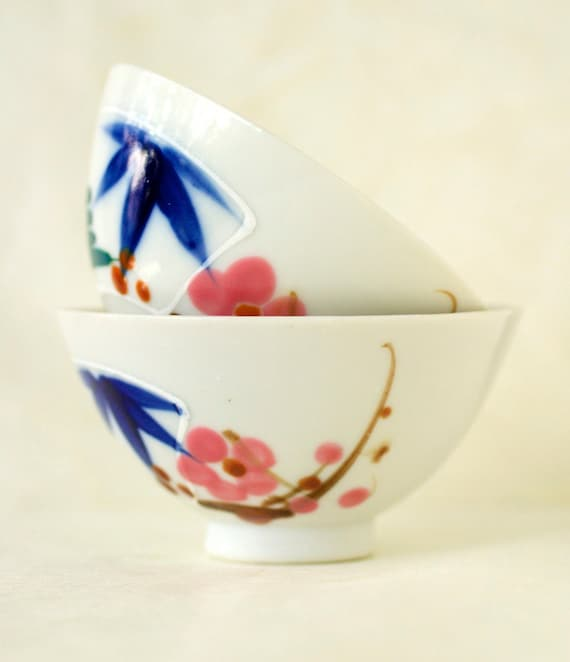 Vintage Japanese Bamboo and Plum Rice Bowls, Hand Painted