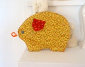 Pot Holder Vintage Kitchen Bohemian 1970s Ditsy Flower Pig
