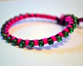 Pink and Green Rhinestone and Leather Wrap Bracelet, Leather Wrap Bracelet, Friendship Bracelet, Neon Bracelet, Neon