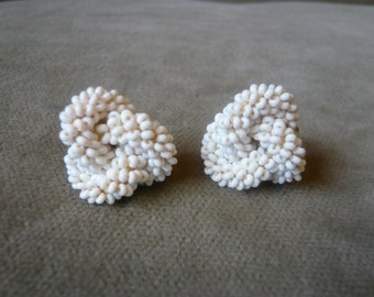 Vintage White Beaded-Knot Earrings