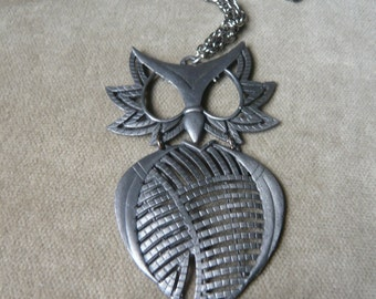 Vintage Pewter Owl Pendant Necklace
