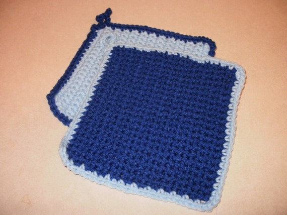 Blue Crochet Pot Holder - Hot Pad Set of 2