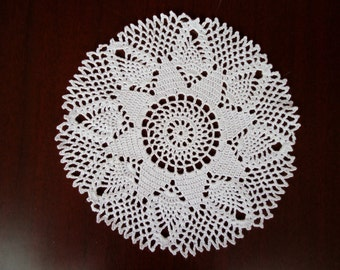 Handmade Crochet Doily in White Measuring 6.75 inches