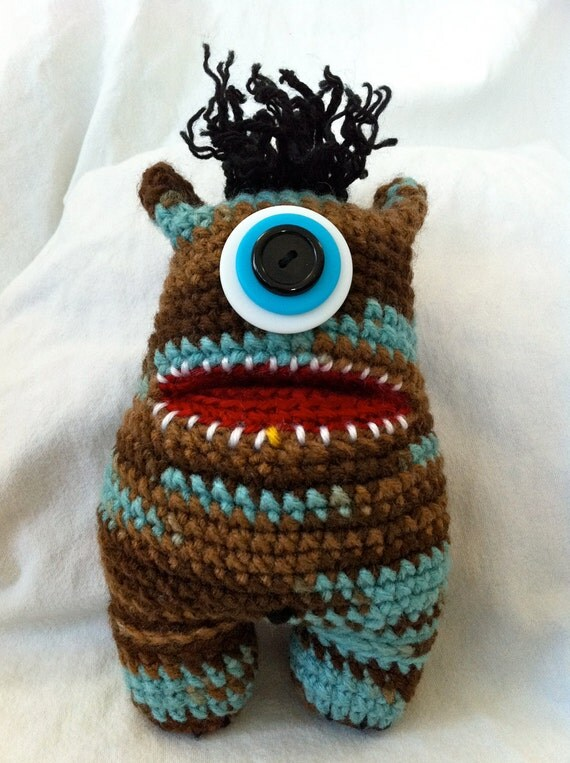 Stuffed Animal Blue and Brown Crochet Monster Amigurumi - Ernest