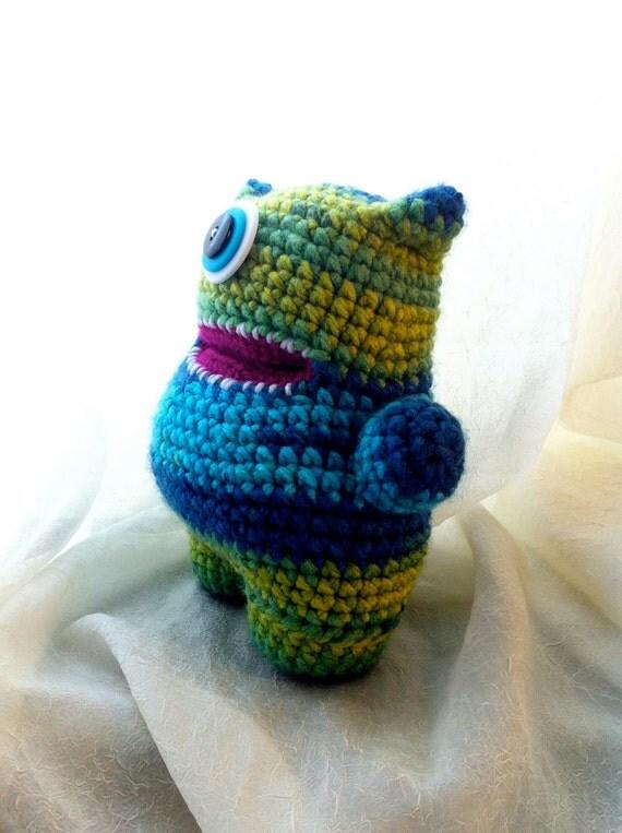 Blue and Green Crochet Stuffed Animal Amigurumi Monster - Thomas