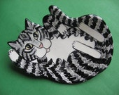 CAT SPOON REST - or soap dish , trinket holder or tea bag holder